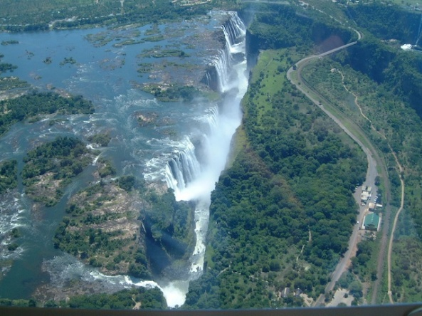 Taken from a helicopter over Victoria Falls, Zimbabwe.