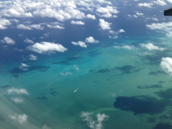 Flying towards Belize.