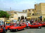 Red Petit Taxis in Fez