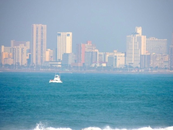 Seen from the beach in Umhlanga Rocks, with the city of Durban in the distance.
