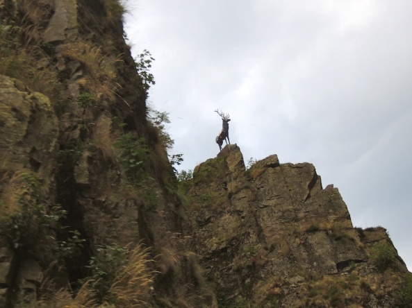 A statue of a lone deer stands atop the towering cliffs at Hirschsprung 'Deer's Jump' in the Black Forest, Germany.