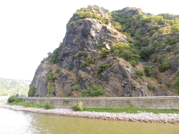 The fabled Lorelei Rock on the shoreline of the Rhine River.